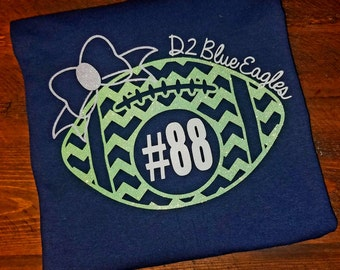 Football Mom Glitter Chevron Football with Bow and team name and players number