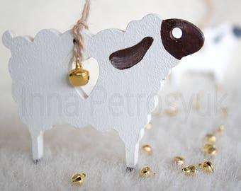 Handmade Christmas ornaments. Handmade Sheep ornament. Christmas tree ornaments. Christmas gifts. Wooden Christmas decorations