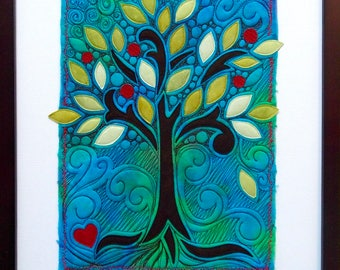 Turquoise Tree of Life art quilt - hand dyed fiber art