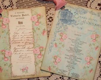 Vintage Dinner Menu Gift Tags