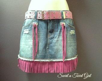 denim mini skirt, fringed denim skirt, pink suede fringe, cowgirl skirt, bohemian skirt, festival clothing, concho tassels, blue denim skirt