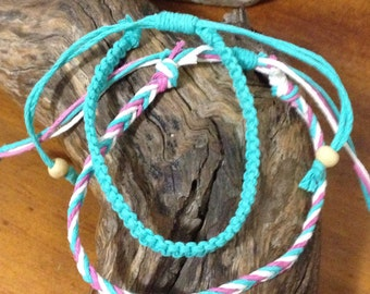 Handmade Hemp Macrame Knot & Fishtail pattern adjustable Friendship Bracelet/Anklet/Wristband set