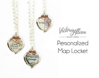 Tiny Silver Heart Locket, Custom Map Necklace, Personalized, Map Jewelry, Vintage Locket, Paper Anniversary Gift