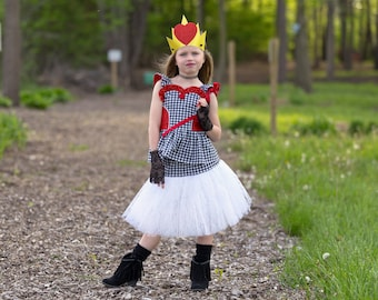 Queen of Hearts Costume - Costume Cosplay - Alice in Wonderland - Toddler Girls Dress - Red Queen - Lace Dress - Birthday  - 2T to 10 yrs