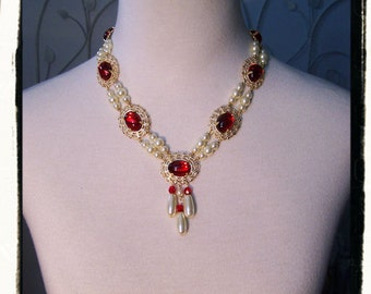 Ruby Red Anne Boleyn Tudor Renaissance Necklace, Game of Thrones Pearl Medieval Jewelry