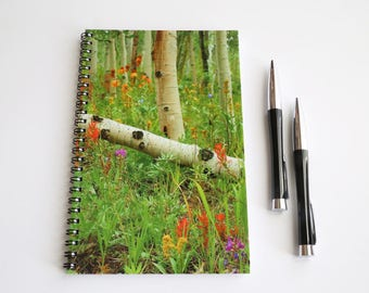 Tree journal, Spiral Notebook, Lined Notebook, Nature Journal, Aspens Notebook, Forest notebook, Nature gift, Custom notebook Trees Notebook