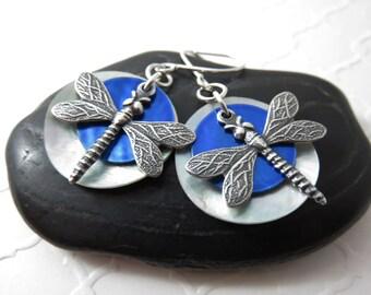 Blue Dragonfly Earrings - Sterling Silver Dragonfly Earrings, Mussel Shell Earrings, Dragonfly Jewelry, Blue Shell Earrings, Blue Earrings