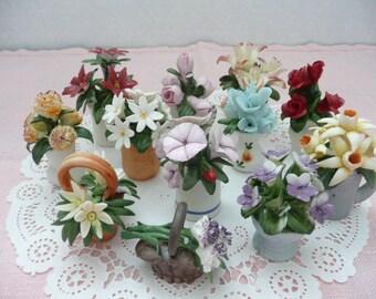"""Set of TWELVE Franklin Mint Porcelain Miniatures """"Flowers of the Year"""", Franklin Mint Miniature Flowers"""
