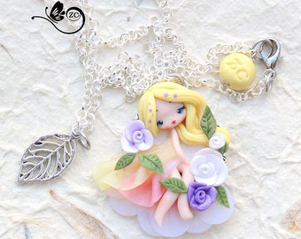 polymer clay necklace /shabby chic collection/ fimo / clay / polymerclay