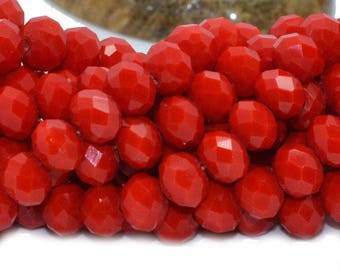 50 abacus faceted 6x4mm opaque red glass beads