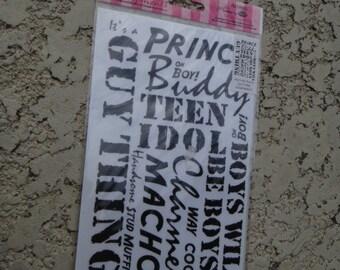 Scrapbook Card Marking Rub On Stickers Boys Teens Guys Stickers RUB ONS