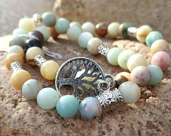 BOHO beaded double stacked bracelet with tree of life charm