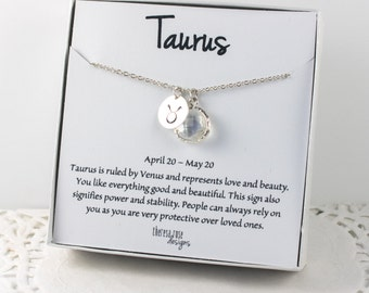 Taurus Zodiac Silver Necklace, Taurus April Necklace, April Birthday Jewelry, Zodiac Necklace, Astrology Silver Necklace