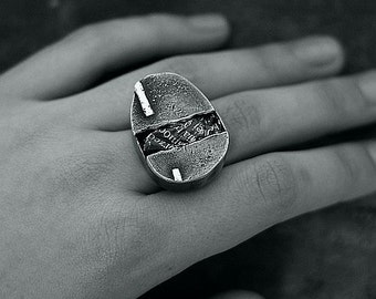 inspirational raw sterling silver ring  • statement modern adjustable ring  oxidized silver Gift for her
