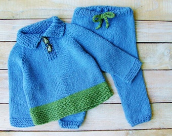 Baby Boy Clothes - Hand Knitted 100% Cotton Sweater and Pants - Blue and Green Infant Boys Sweater Set - Boys Clothing Size 12 Months