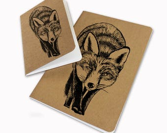 A5 Handprinted fox prowling notebook brown sketchbook blank pages screenprint linocut
