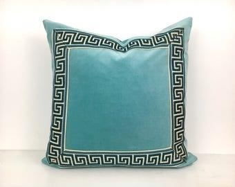 Aqua Pillow Cover with Greek Key Trim - Aqua Velvet PIllow