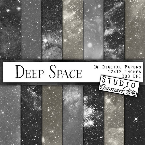 Black and white galaxy digital paper deep space galaxy backgrounds stars and galaxies milky way nebulae instant download from studiodenmark on