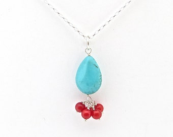 Turquoise Silver Necklace, Turquoise and Coral Necklace, Cluster Necklace, Gemstone Necklace, Classic Jewelry, Statement Necklace, Necklace