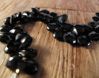 Black Onyx Beads, 9mm x 7mm Faceted Pear Shaped Briolettes, 8 Inch Strand of Natural Gemstones for Making Jewelry (B-On3a)