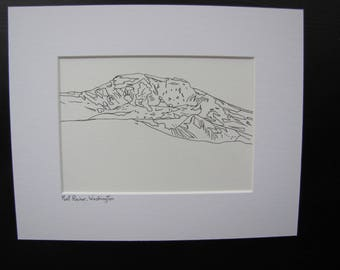 Mont Rainer Mountain Ink Drawing, Mt Rainer Washington Drawing, Mountain Drawing, Line Drawing Print, Contour Ink Drawing