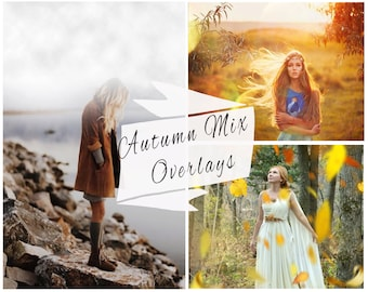 Autumn Photoshop Overlays, Falling Leaves, Fog Overlays, Rain Overlays, Clouds, Lens Flare, Marketing Board