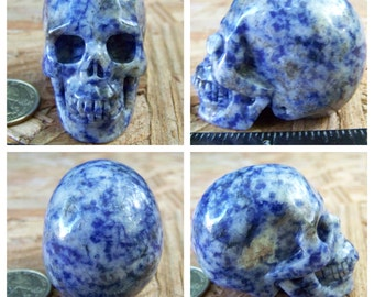 "2.03"" Sodalite Skull 3.2oz 90.0g Realistic Hand Carved Handmade Crystal Healing Metaphysical Magick Reiki Wicca Altar Shrine Blue SK894"