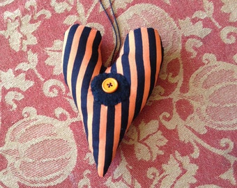 Fabric Heart with Orange and Black Stripes