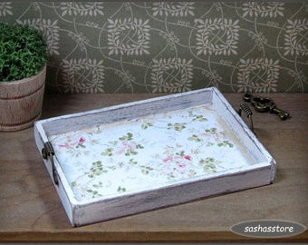 Miniature dollhouse tray, shabby chic miniature, kitchen accessory, handcrafted miniature