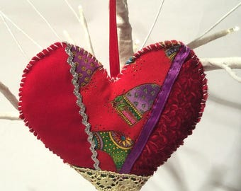 Crafty Christmas! Handmade Crazy Patchwork Quilt Heart Ornament/Shabby Cottage Country/Gift/Love