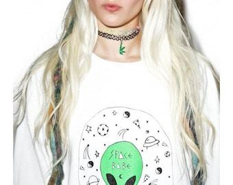 Alien Sweater // Alien // Alien Shirt // 90s Grunge // Space Babe // Space Grunge // Pizza // Acid