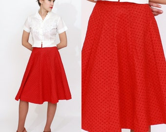Vintage 1950s Cherry Red and Black Patterned Quilted Circle Skirt by Lucia of California | XS/Small