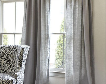 Gray Cotton Curtains Living Room Bedroom Dining