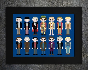 """Doctor Who Inspired Counted Cross Stitch Pattern """"I Am The Doctor"""" - Doctors 1-14 - Instant Download, PDF pattern"""
