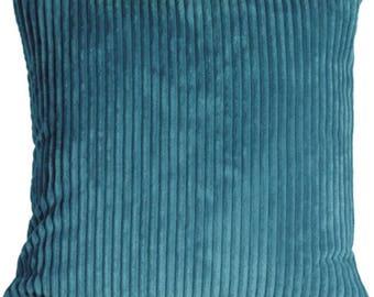 Wide Wale Corduroy 22x22 Marine Blue Throw Pillow