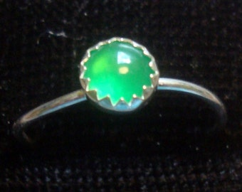 Emerald Green Chalcedony ring 5mm , skinny stacking size 9.25 Promo/Prototype * Ready to Mail * BIG SALE * solid sterling silver