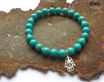 Turquoise bracelet with silver elements made of 925 silver