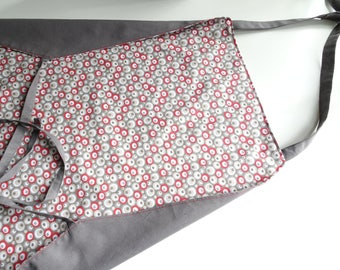 Adult apron, gray and Red
