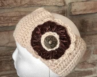 Beige headband, ladies headband, crochet headband, handmade embellished beige and brown ear warmer