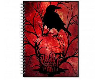 Blank Notebook Diary - Lined A5 Notebook - Skull A5 Notebook - Gothic Lined Journal - Gothic Lined Journal - A5 Gothic Book - Gothic Journal