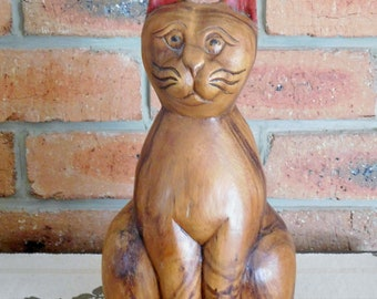 Vintage carved wooden cat, 30cm tall, solid single branch eucalyptus tree, Adelaide Hills artist, 1970s