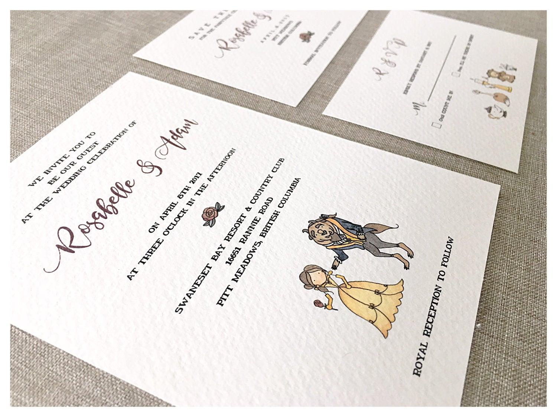 SAMPLE* Enchanted Wedding Invitation set // beauty and the beast ...