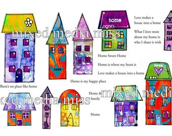 Funky Whimsical Houses 4 - Collage Elements Mixed Media digital download - Art Journal - Scrapbooking