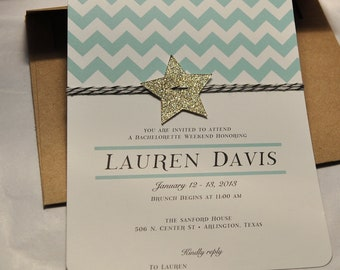 Chevron, glitter star and bakers twine mint green and gold birthday invitation, kraft envelope