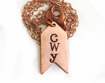 Cherokee Language Copper Arrow Necklace Tsalagi Cherokee Made