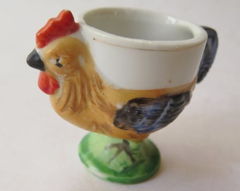Vintage Chicken Egg Cup Holder Hand Painted Ceramic Easter Gift 1960s Japan Rooster Mid Century Kitchen Decor
