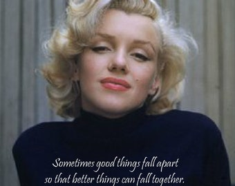 Canvas photography of Marilyn Monroe with quote fall
