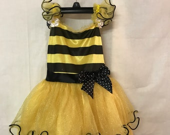 Beautiful Bumble Bee Costume, Kid's 3T to 4T, Yellow and Black, Halloween Costume, Kid's Halloween,  Ballerina Style Costume
