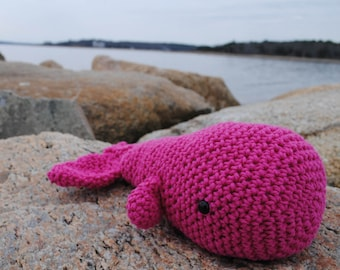 Woolie Whale Hand Crocheted Plush - Magenta - Large