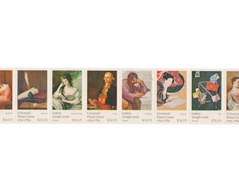 8 Unused Postage Stamps - 1974 10c Art Masterpieces on Letter Writing - Item No. 1530s